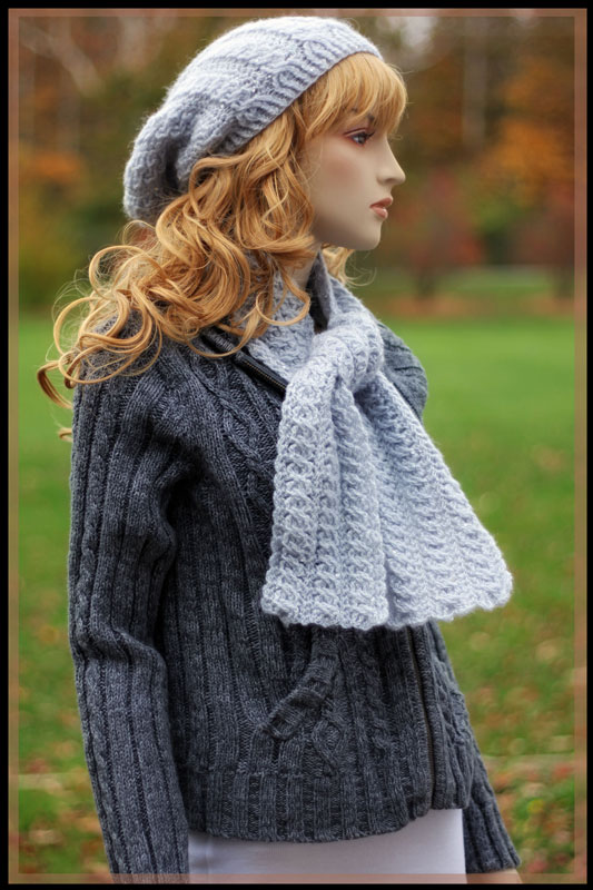 Moonstone - Cabled Hat and Scarf