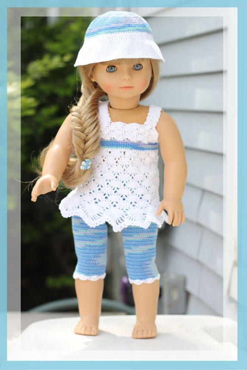"Ocean Breeze - 18"" Doll Top, Leggings and Sunhat"